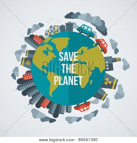 Poster Of Creative Concept Save The Planet