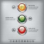 stock photo of going out business sale  - Set of shiny colored buttons with metallic elements on a metal textured background for business design infographics step presentation or website design - JPG