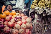 The Hawker Sell His Fruits In Thamel In Katmandu, Nepal. poster