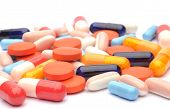 foto of overdose  - pills isolated on white background in studio - JPG