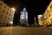 picture of crusader  - Tourism and sightseeing night view over Old Town Eastern tower of Charles Bridge Prague famous sight - JPG