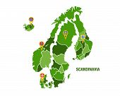 image of sweden flag  - Vector illustration of a green scandinavia map with flags - JPG