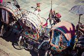 stock photo of rickshaw  - Rickshaw is a very popular type of public transport in cities in Nepal - JPG