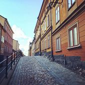 picture of cobblestone  - Cobblestone street with old buildings in Sodermalm Stockholm - JPG