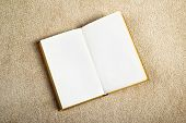picture of glossary  - Vintage Book with Blank Pages as Copy Space on the New Beige Carpet Floor - JPG