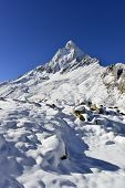 picture of mahadev  - dramatic granite Mount Shivling 6543 meters high in the western Garhwal Himalaya - JPG