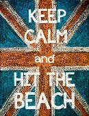 foto of union  - Keep Calm and Hit the Beach. United Kingdom (British Union jack) flag vintage hand drawing with chalk on blackboard humor concept image - JPG