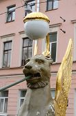 picture of metal sculpture  - Griffon sculpture of Bank bridge in St.Petersburg Russia. ** Note: Soft Focus at 100%, best at smaller sizes - JPG