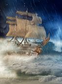 stock photo of galleon  - Fantasy ship in the ocean in a rain nigth - JPG