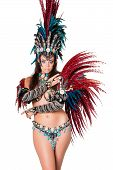 pic of samba  - Portrait of beautiful young samba dancer isolated on white - JPG
