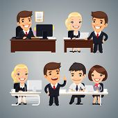 stock photo of cartoon character  - Cartoon Businessmen Characters at the Table Teamwork - JPG