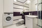 picture of shower-cubicle  - Modern bathroom in white and violet style - JPG