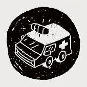 stock photo of ambulance  - Doodle Ambulance - JPG