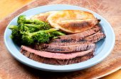 pic of flank steak  - rare flank steak with potato wedges and brocolli