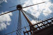 foto of mast  - Mast and rigging on a sailing wooden ship - JPG