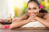 foto of serenity  - Beautiful smiling girl outdoor portrait at massage spa - JPG