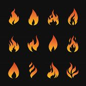 stock photo of flames  - Vector set of flame symbols on black background - JPG