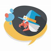 stock photo of witch  - Witch Hat Flat Icon With Long Shadow - JPG