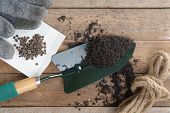 picture of household farm  - soil and gardening tools on wooden plank - JPG