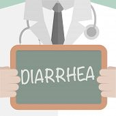 stock photo of diarrhea  - minimalist illustration of a doctor holding a blackboard with Diarrhea text - JPG