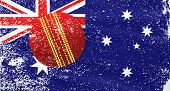 stock photo of cricket ball  - The flag of Australia with grunge effect and cricket ball - JPG