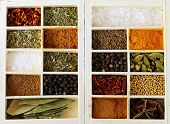 picture of bay leaf  - set of different spices (pepper, salt, turmeric, bay leaves, chili, herbs) in a wooden box - JPG