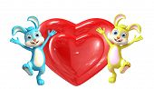 pic of meals wheels  - 3d Illustration of Easter Bunny character with heart pose - JPG