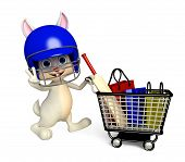 stock photo of meals wheels  - 3d Illustration of Easter Bunny character with shopping trolley - JPG