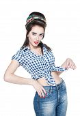 stock photo of 1950s style  - Young beautiful woman in retro pin - JPG