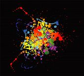 picture of color spot black white  - Colourful bright ink splat design with a black background - JPG