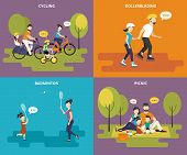 pic of cartoon people  - Family with children kids people concept flat icons set of cycling - JPG