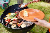 picture of kebab  - grilled kebab and vegetables - JPG