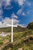 picture of cross hill  - Summer mountain view with white wooden cross - JPG