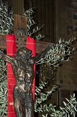 stock photo of crucifix  - Jesus crucifix on cross on palm sunday - JPG