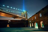 pic of tribute  - New York City downtown Brooklyn Bridge and september 11 tribute at night - JPG