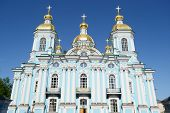 stock photo of nicholas  - St. Nicholas Naval Cathedral St. Petersburg at sunny day Russia.