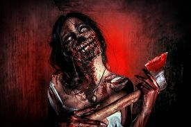 picture of terrific  - Scary bloody zombie girl with an ax - JPG
