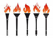 foto of torches  - Set of five vector torches with fire - JPG