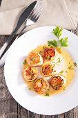 stock photo of scallops  - fried scallop - JPG
