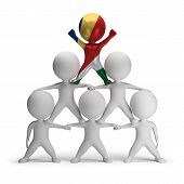 picture of human pyramid  - 3d small people standing on each other in the form of a pyramid with the top leader Seychelles - JPG