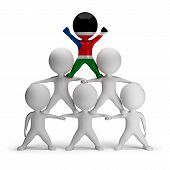 pic of human pyramid  - 3d small people standing on each other in the form of a pyramid with the top leader Southern Sudan - JPG