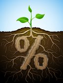 stock photo of bine  - Concept of germination roots and tuber in shape of percentage symbol - JPG