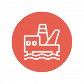 pic of offshore  - Offshore oil station thin line icon for web and mobile minimalistic flat design - JPG
