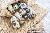 stock photo of quail  - Quail eggs in burlap sack on a wooden table background - JPG