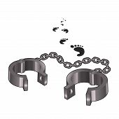 stock photo of handcuff  - Vector image of the open handcuffs and some footprints - JPG