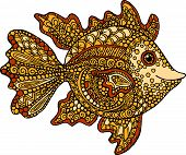 picture of goldfish  - Hand drawn goldfish illustration - JPG