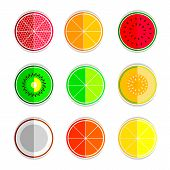stock photo of mandarin orange  - orange mandarin lemon watermelon cantaloupe kiwi lime coconut grapefruit  set  icons - JPG
