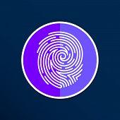 stock photo of fingerprint  - Fingerprint icon finger print vector id theft macro stamp - JPG