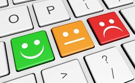 stock photo of keyboard keys  - Business quality service customer feedback rating and survey keys with smiling face symbol and icon on computer keyboard - JPG