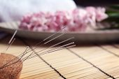 Acupuncture needles inserted into cork, closeup poster